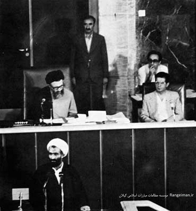 ایت الله ربانی املشی در حال نطق در مجلس خبرگان قانون اساسی