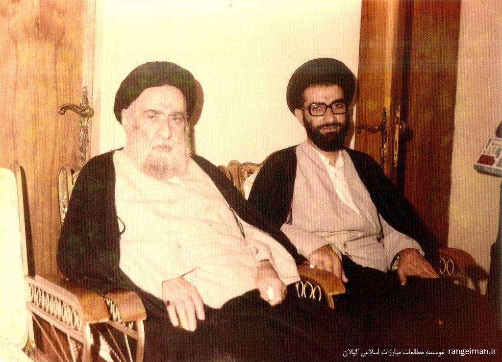 آیت الله پیشوایی در کنار فرزندش حجت الاسلام سیدمحمد جواد پیشوایی
