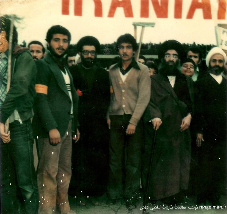 حجت الاسلام پیشوایی در روز راهپیمایی عاشورای سال 1357