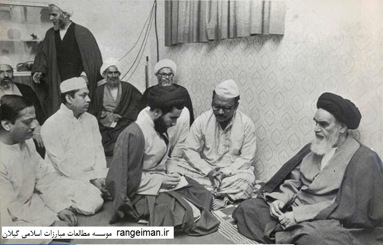 دیدار با امام خمینی در قم- حجج اسلام محمد زاهد، پور جعفر، امینیان و عبدالعظیم یکتا