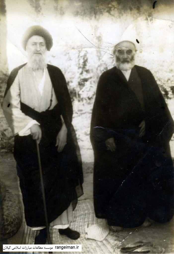 از راست حجت الاسلام موسی یکتا و آیت الله ضیابری عالم معروف رشت