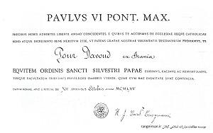 فرمان نشان شوالیه «سن سیلوستر» برای پورداوود به امضای پاپ رهبر مسیحیان برای پورداوود - زین ابزار، ص8-9