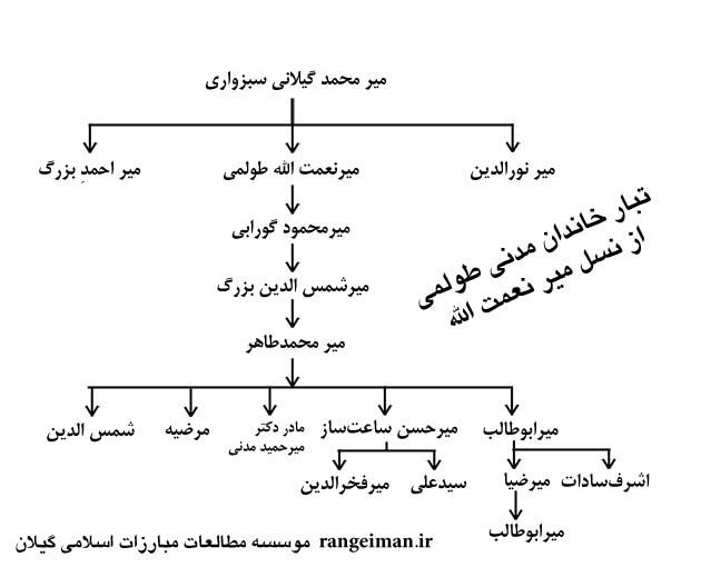 تبارنامه خاندان مدنی از نسل میرنعمت الله طولمی
